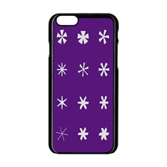 Purple Flower Floral Star White Apple Iphone 6/6s Black Enamel Case by Mariart