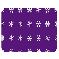Purple Flower Floral Star White Double Sided Flano Blanket (medium)  by Mariart