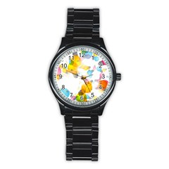 Lamp Color Rainbow Light Stainless Steel Round Watch by Mariart