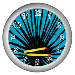 Match Cover Matches Wall Clocks (silver)  by Mariart