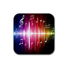 Music Data Science Line Rubber Square Coaster (4 Pack)  by Mariart