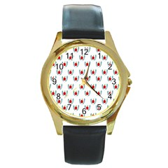 Sage Apple Wrap Smile Face Fruit Round Gold Metal Watch by Mariart