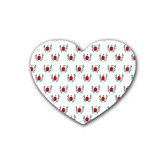 Sage Apple Wrap Smile Face Fruit Heart Coaster (4 Pack)  by Mariart