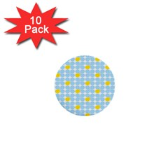 Retro Stig Lindberg Vintage Posters Yellow Blue 1  Mini Buttons (10 Pack)  by Mariart