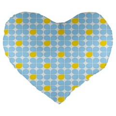 Retro Stig Lindberg Vintage Posters Yellow Blue Large 19  Premium Heart Shape Cushions by Mariart