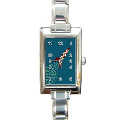 Rocket Ship Space Blue Sky Red White Fly Rectangle Italian Charm Watch by Mariart