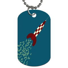 Rocket Ship Space Blue Sky Red White Fly Dog Tag (two Sides) by Mariart
