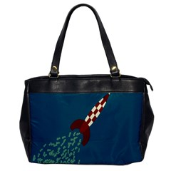 Rocket Ship Space Blue Sky Red White Fly Office Handbags by Mariart