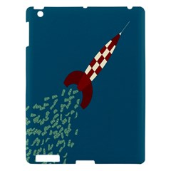 Rocket Ship Space Blue Sky Red White Fly Apple Ipad 3/4 Hardshell Case by Mariart