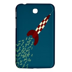 Rocket Ship Space Blue Sky Red White Fly Samsung Galaxy Tab 3 (7 ) P3200 Hardshell Case  by Mariart