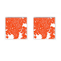 Red Spot Paint White Cufflinks (square) by Mariart