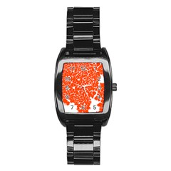 Red Spot Paint White Stainless Steel Barrel Watch by Mariart