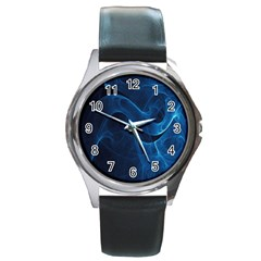 Smoke White Blue Round Metal Watch by Mariart