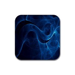 Smoke White Blue Rubber Square Coaster (4 Pack)  by Mariart