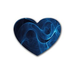 Smoke White Blue Rubber Coaster (heart)  by Mariart