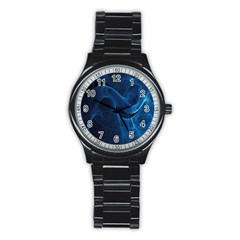 Smoke White Blue Stainless Steel Round Watch by Mariart