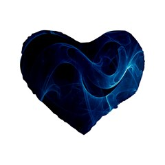 Smoke White Blue Standard 16  Premium Flano Heart Shape Cushions by Mariart