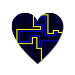 Tron Light Walls Arcade Style Line Yellow Blue Heart Magnet by Mariart