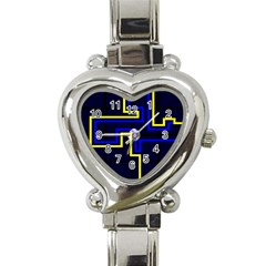 Tron Light Walls Arcade Style Line Yellow Blue Heart Italian Charm Watch by Mariart