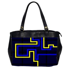 Tron Light Walls Arcade Style Line Yellow Blue Office Handbags (2 Sides)  by Mariart