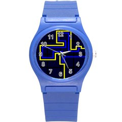 Tron Light Walls Arcade Style Line Yellow Blue Round Plastic Sport Watch (s) by Mariart