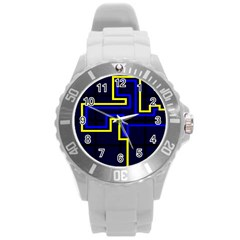 Tron Light Walls Arcade Style Line Yellow Blue Round Plastic Sport Watch (l) by Mariart