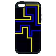 Tron Light Walls Arcade Style Line Yellow Blue Apple Iphone 5 Hardshell Case (pc+silicone) by Mariart