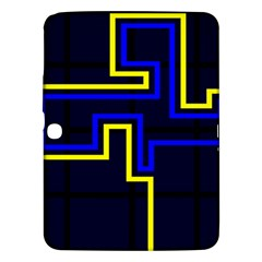 Tron Light Walls Arcade Style Line Yellow Blue Samsung Galaxy Tab 3 (10.1 ) P5200 Hardshell Case  by Mariart