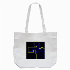 Tron Light Walls Arcade Style Line Yellow Blue Tote Bag (white) by Mariart
