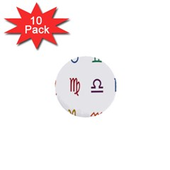 Twelve Signs Zodiac Color Star 1  Mini Buttons (10 Pack)  by Mariart