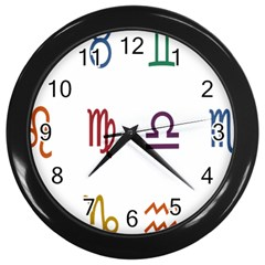 Twelve Signs Zodiac Color Star Wall Clocks (black) by Mariart