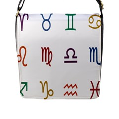 Twelve Signs Zodiac Color Star Flap Messenger Bag (l)  by Mariart
