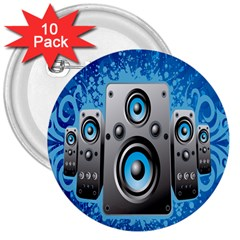 Sound System Music Disco Party 3  Buttons (10 Pack)  by Mariart