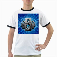 Sound System Music Disco Party Ringer T Shirts by Mariart