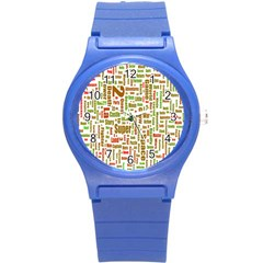 Screen Source Serif Text Round Plastic Sport Watch (s) by Mariart