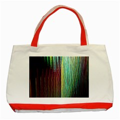 Screen Shot Line Vertical Rainbow Classic Tote Bag (red) by Mariart