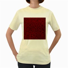 Red Roses Field Women s Yellow T Shirt