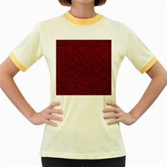 Red Roses Field Women s Fitted Ringer T Shirts