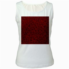 Red Roses Field Women s White Tank Top