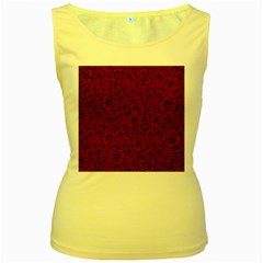 Red Roses Field Women s Yellow Tank Top