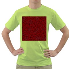 Red Roses Field Green T Shirt