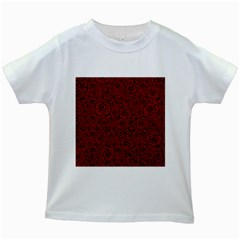 Red Roses Field Kids White T Shirts