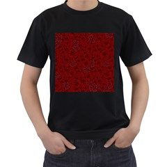 Red Roses Field Men s T Shirt (black) (two Sided)