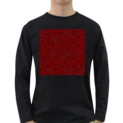 Red Roses Field Long Sleeve Dark T Shirts