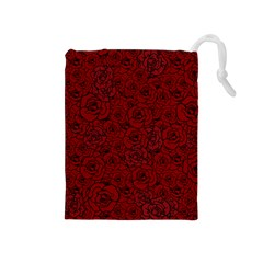 Red Roses Field Drawstring Pouches (medium)