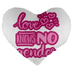 Love Knows No Gender Large 19  Premium Heart Shape Cushions by Valentinaart