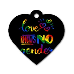 Love Knows No Gender Dog Tag Heart (two Sides) by Valentinaart