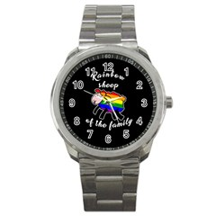 Rainbow Sheep Sport Metal Watch by Valentinaart