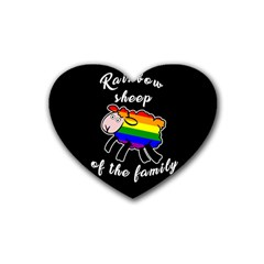Rainbow Sheep Rubber Coaster (heart)  by Valentinaart