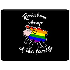 Rainbow Sheep Fleece Blanket (large)  by Valentinaart